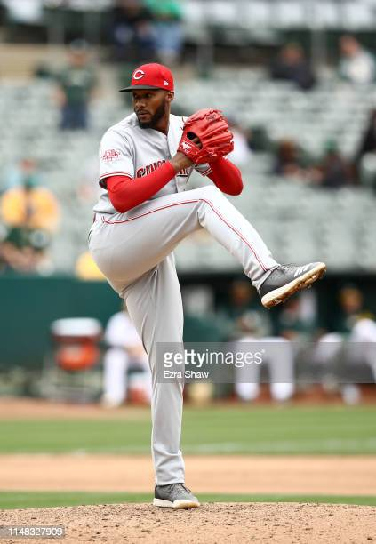 Amir Garrett of the Cincinnati Reds pitches against the Cincinnati Reds at Oakland-Alameda County Coliseum on May 09, 2019 in Oakland, California.
