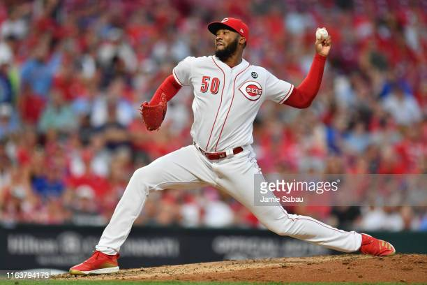Amir Garrett of the Cincinnati Reds pitches against the St. Louis Cardinals at Great American Ball Park on July 20, 2019 in Cincinnati, Ohio....