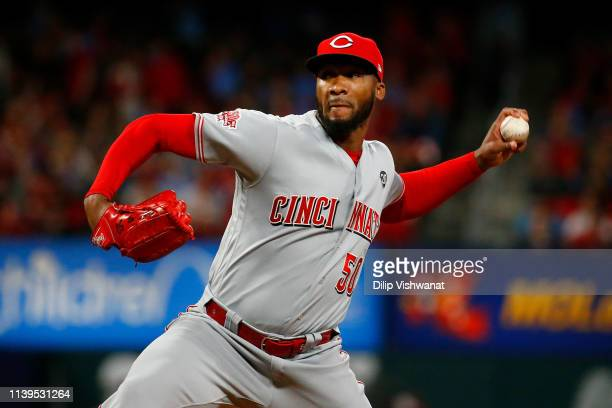 Amir Garrett of the Cincinnati Reds pitches against the St. Louis Cardinals in the seventh inning at Busch Stadium on April 26, 2019 in St. Louis,...