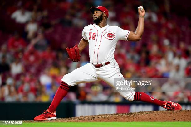 Amir Garrett of the Cincinnati Reds pitches during a game between the Cincinnati Reds and San Diego Padres at Great American Ball Park on June 29,...