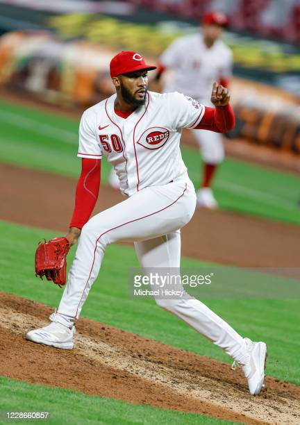 Amir Garrett of the Cincinnati Reds pitches during the game against the Milwaukee Brewers at Great American Ball Park on September 22, 2020 in...
