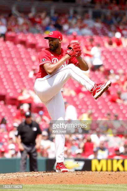 Amir Garrett of the Cincinnati Reds pitches during the game against the Colorado Rockies at Great American Ball Park on June 13, 2021 in Cincinnati,...