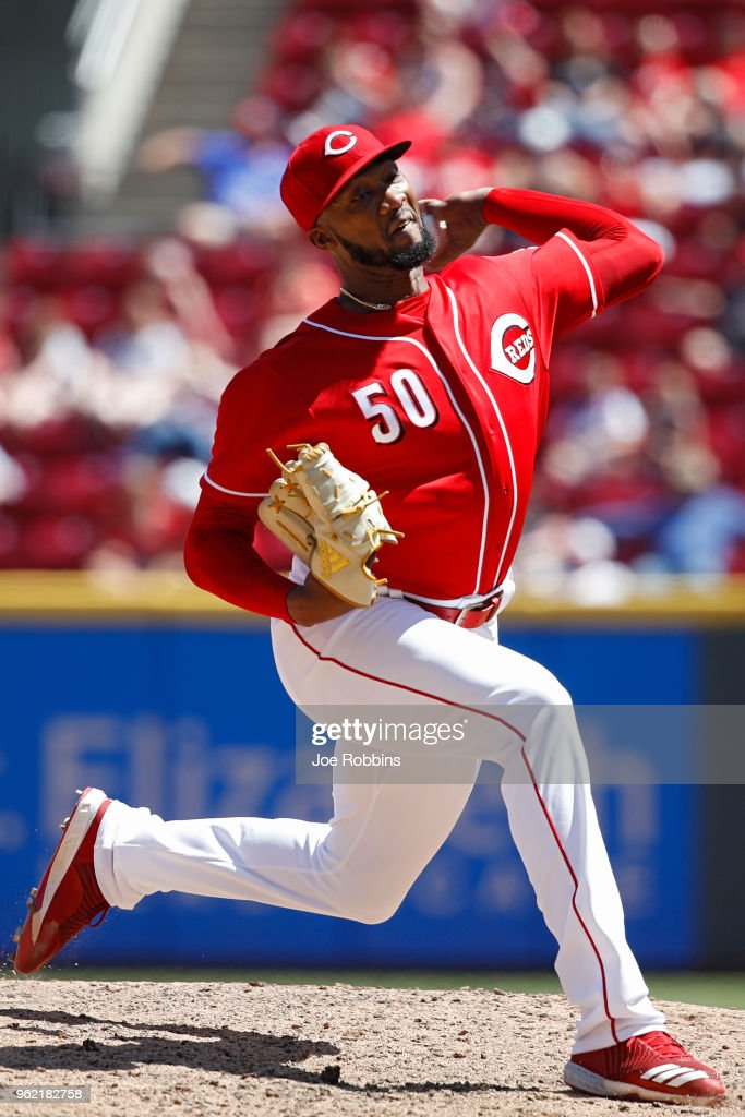 Amir Garrett #50 of the Cincinnati Reds pitches in the eighth inning against the Pittsburgh Pirates at Great American Ball Park on May 24, 2018 in Cincinnati, Ohio. The Reds won 5-4.