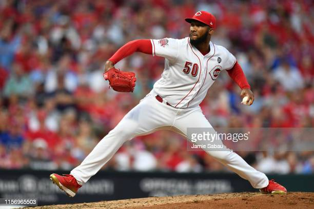 Amir Garrett of the Cincinnati Reds pitches in the seventh inning against the St. Louis Cardinals at Great American Ball Park on July 20, 2019 in...