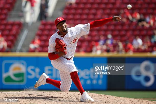 Amir Garrett of the Cincinnati Reds pitches in the seventh inning against the Colorado Rockies at Great American Ball Park on July 28, 2019 in...