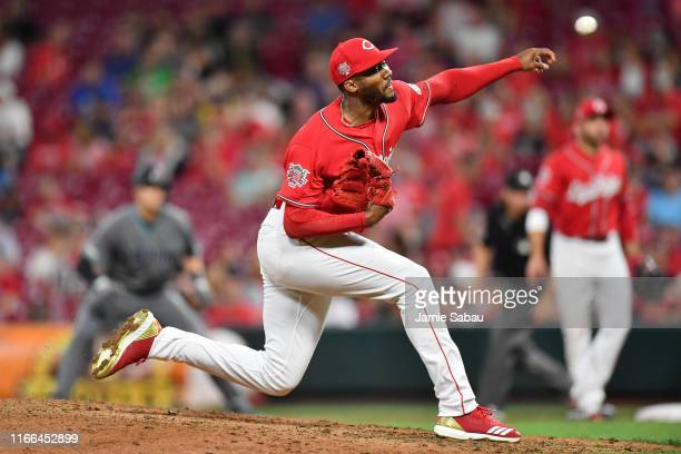 Amir Garrett of the Cincinnati Reds pitches in the sixth inning against the Arizona Diamondbacks at Great American Ball Park on September 6, 2019 in...