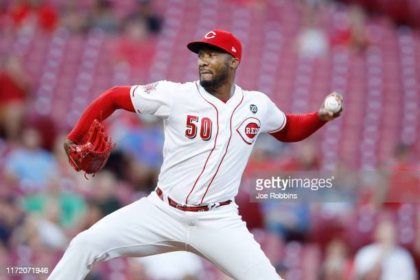 Amir Garrett of the Cincinnati Reds pitches in the third inning against the Philadelphia Phillies at Great American Ball Park on September 3, 2019 in...