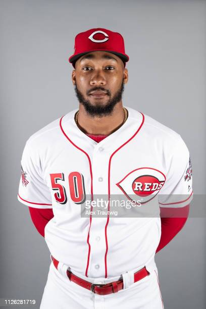 Amir Garrett of the Cincinnati Reds poses during Photo Day on Tuesday February 19 2019 at Goodyear Ballpark in Goodyear Arizona