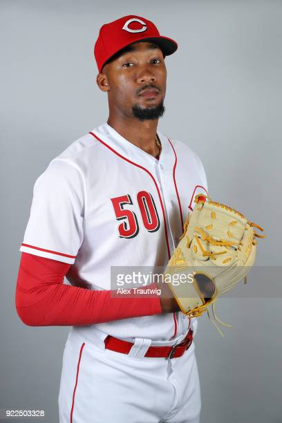 Amir Garrett of the Cincinnati Reds poses during Photo Day on Tuesday February 20 2018 at Goodyear Ballpark in Goodyear Arizona