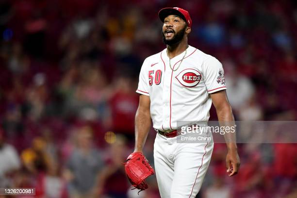 Amir Garrett of the Cincinnati Reds reacts after striking out a batter in the sixth inning during their game against the San Diego Padres at Great...