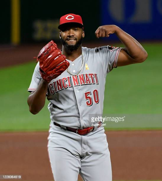 Amir Garrett of the Cincinnati Reds reacts after the final out in the seventh inning during the game against the Pittsburgh Pirates at PNC Park on...