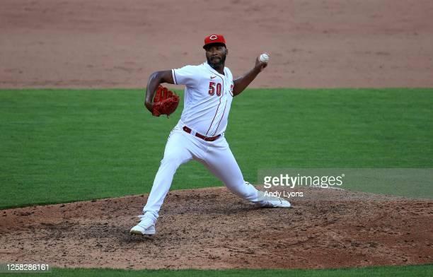 Amir Garrett of the Cincinnati Reds throws a pitch against the Detroit Tigers at Great American Ball Park on July 25, 2020 in Cincinnati, Ohio.