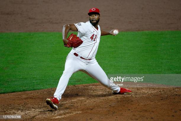 Amir Garrett of the Cincinnati Reds throws a pitch during the game against the Chicago Cubs at Great American Ball Park on August 28, 2020 in...