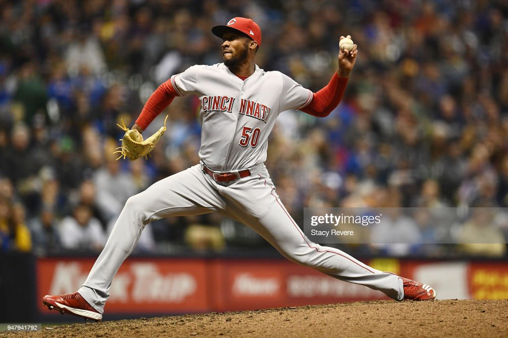 Amir Garrett #50 of the Cincinnati Reds throws a pitch during the sixth inning of a game against the Milwaukee Brewers at Miller Park on April 17, 2018 in Milwaukee, Wisconsin.