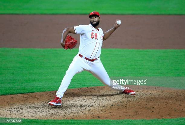 Amir Garrett of the Cincinnati Reds throws a pitch in the 4-1 win against the Pittsburgh Pirates at Great American Ball Park on September 15, 2020 in...