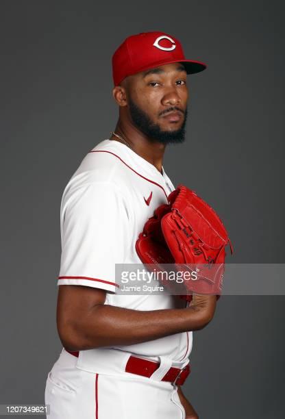 Amir Garrett poses during Cincinnati Reds Photo Day on February 19, 2020 in Goodyear, Arizona.