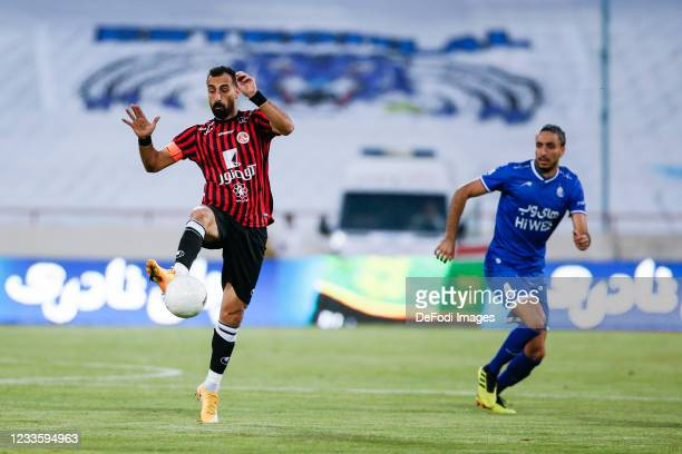 Amir Ghaseminejad of Padideh controls the ball during the Persian Gulf Pro League match between Esteghlal and Padideh FC at Azadi Stadium on June 21,...