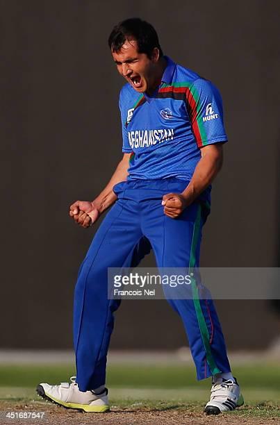 Amir Hamza Hotak of Afghanistan celebrates the wicket of Steve Tikolo of Kenya during the ICC World Twenty20 Qualifier between Afghanistan and Kenya...