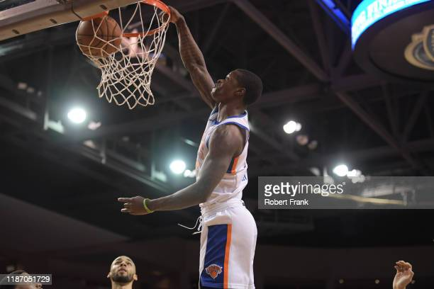 Amir Hinton of the Westchester Knicks dunks during a G League game between the Erie BayHawks and the Westchester Knicks at the Erie Insurance Arena...
