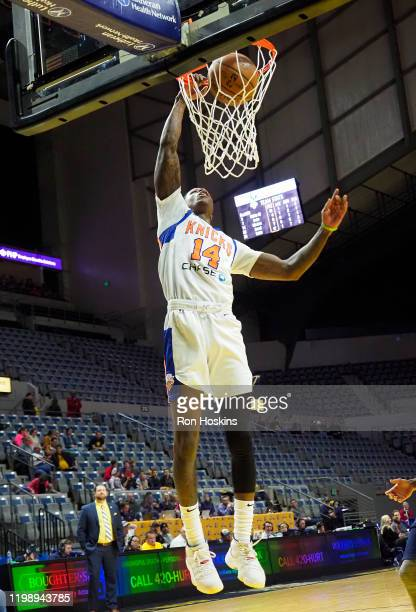 Amir Hinton of the Westchester Knicks dunks the ball against the Fort Wayne Mad Ants on February 6 2020 at Memorial Coliseum in Fort Wayne Indiana...