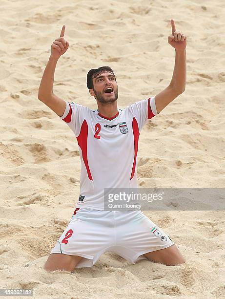 Amir Hosein Akbari Fartkhouni of Iran celebrates kicking a goal during the Men's Beach Soccer gold medal match between Iran and Japan during the 2014...