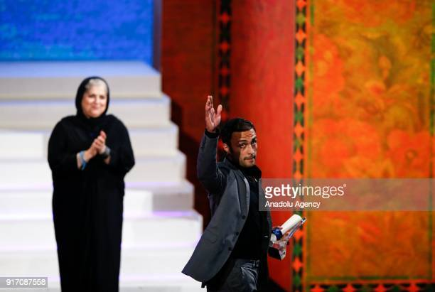 Amir Jadidi winner of best actor award gestures during the Awards and Closing Ceremony of the 36th Fajr International Film Festival at Milad Tower in...