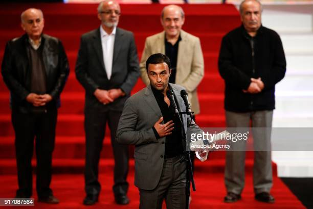 Amir Jadidi winner of the best actor award delivers a speech during the Awards and Closing Ceremony of the 36th Fajr International Film Festival at...