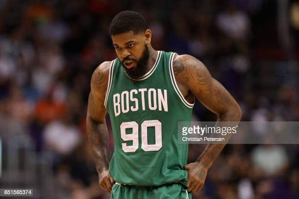 Amir Johnson of the Boston Celtics during the NBA game against the Phoenix Suns at Talking Stick Resort Arena on March 5 2017 in Phoenix Arizona The...