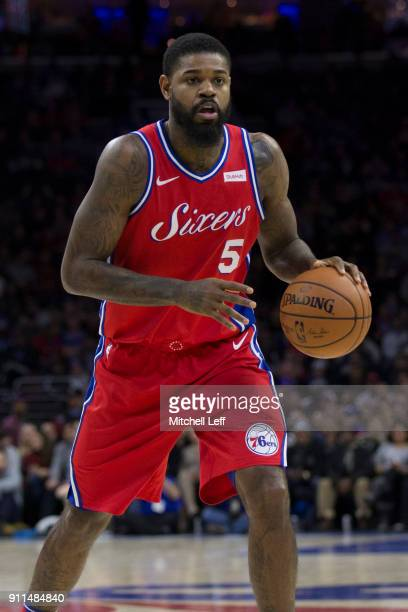 Amir Johnson of the Philadelphia 76ers dribbles the ball against the Detroit Pistons at the Wells Fargo Center on January 5 2018 in Philadelphia...