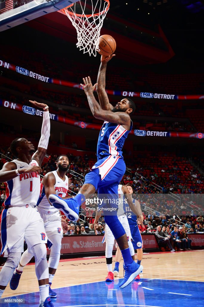 Amir Johnson #5 of the Philadelphia 76ers drives against the Detroit Pistons on October 23, 2017 at Little Caesars Arena in Detroit, Michigan.