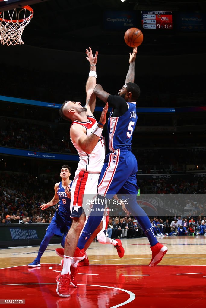 Amir Johnson #5 of the Philadelphia 76ers drives to the basket against the Washington Wizards on October 18, 2017 at Capital One Arena in Washington, DC.