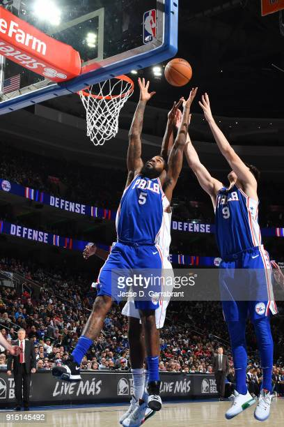 Amir Johnson of the Philadelphia 76ers goes up for a rebound against the Washington Wizards on February 6 2018 at Wells Fargo Center in Philadelphia...