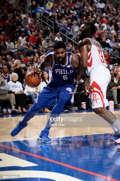 Amir Johnson of the Philadelphia 76ers handles the ball against the Houston Rockets on October 25 2017 at the Wells Fargo Center in Philadelphia...