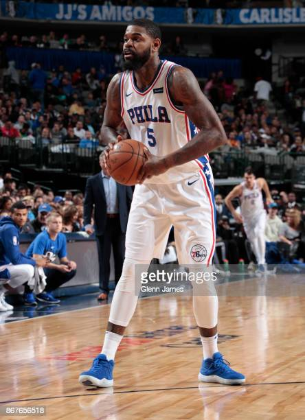 Amir Johnson of the Philadelphia 76ers handles the ball against the Dallas Mavericks on October 28 2017 at the American Airlines Center in Dallas...