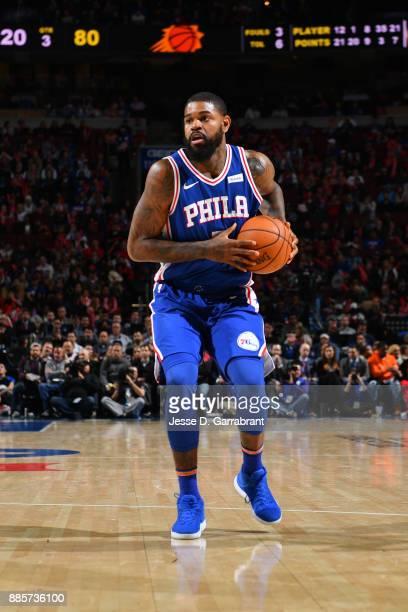 Amir Johnson of the Philadelphia 76ers handles the ball against the Phoenix Suns on December 4 2017 at Wells Fargo Center in Philadelphia...