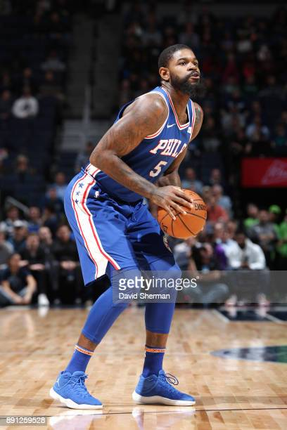 Amir Johnson of the Philadelphia 76ers handles the ball against the Minnesota Timberwolves on December 12 2017 at Target Center in Minneapolis...