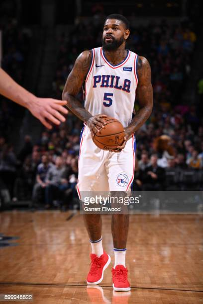 Amir Johnson of the Philadelphia 76ers handles the ball against the Denver Nuggets on December 30 2017 at the Pepsi Center in Denver Colorado NOTE TO...