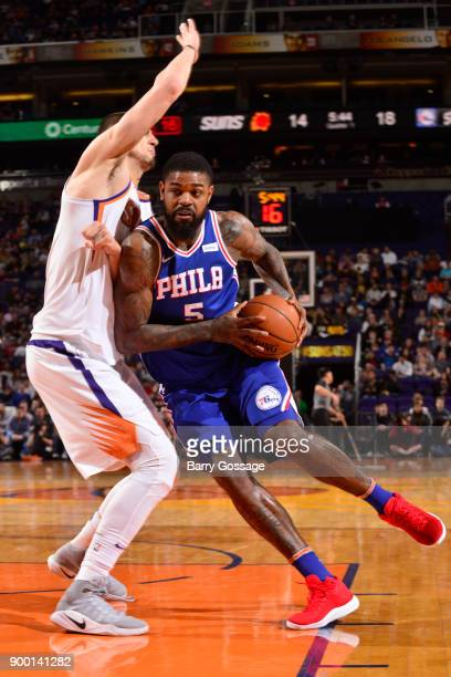 Amir Johnson of the Philadelphia 76ers handles the ball against the Phoenix Suns on December 31 2017 at Talking Stick Resort Arena in Phoenix Arizona...