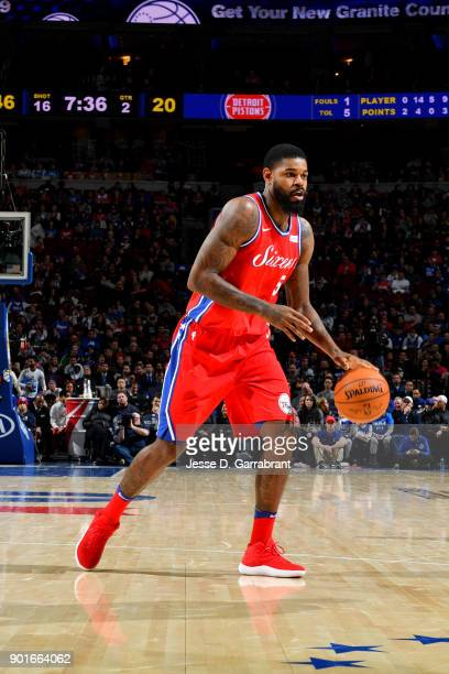 Amir Johnson of the Philadelphia 76ers handles the ball during the game against the Detroit Pistons on January 5 2018 at Wells Fargo center in...