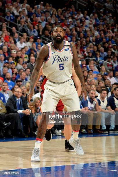 Amir Johnson of the Philadelphia 76ers looks on during the game against the Miami Heat in Game Five of Round One of the 2018 NBA Playoffs on April 24...