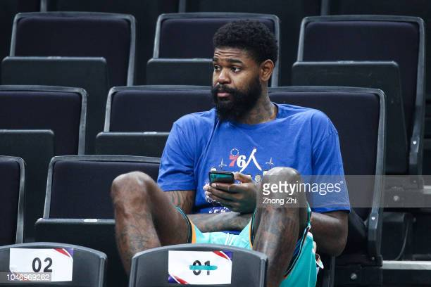Amir Johnson of the Philadelphia 76ers looks on during the practice as part of the 2018 NBA China Games at Universidade Center on October 7 2018 in...