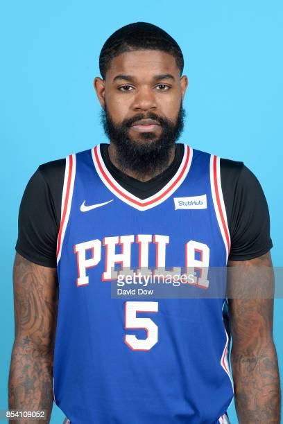 Amir Johnson of the Philadelphia 76ers poses for a head shot during media day at Wells Fargo Center in Philadelphia Pennsylvania on September 25 2017...