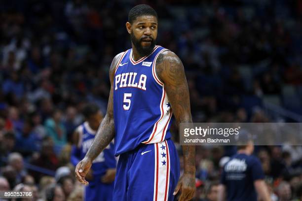 Amir Johnson of the Philadelphia 76ers reacts during a game against the New Orleans Pelicans at the Smoothie King Center on December 10 2017 in New...