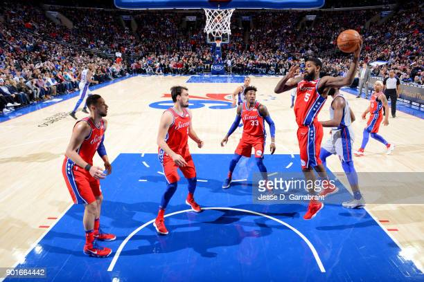 Amir Johnson of the Philadelphia 76ers rebounds the ball during the game against the Detroit Pistons on January 5 2018 at Wells Fargo center in...