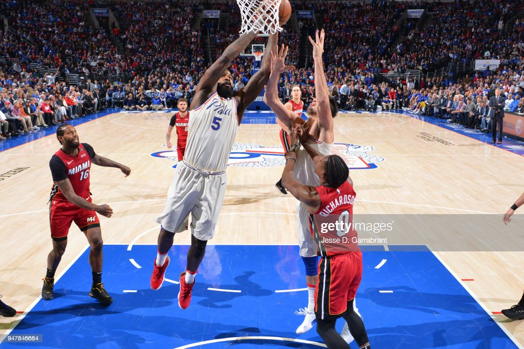 Amir Johnson #5 of the Philadelphia 76ers shoots the ball against the Miami Heat in Game Two of Round One of the 2018 NBA Playoffs on April 16, 2018 in Philadelphia, Pennsylvania