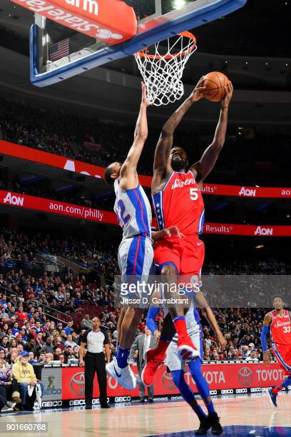 Amir Johnson of the Philadelphia 76ers shoots the ball during the game against the Detroit Pistons on January 5 2018 at Wells Fargo center in...