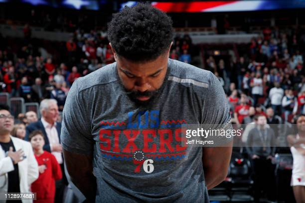 Amir Johnson of the Philadelphia 76ers stands for the National Anthem prior to the game against the Chicago Bulls on March 6 2019 at United Center in...