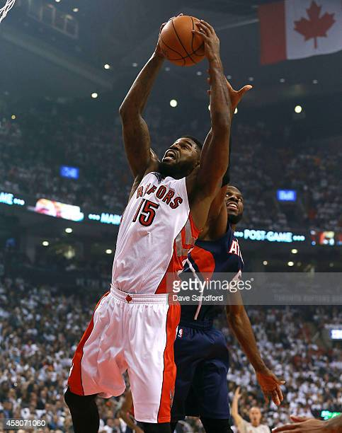 Amir Johnson of the Toronto Raptors drives to the basket against the Atlanta Hawks during their NBA game at the Air Canada Centre on October 29 2014...