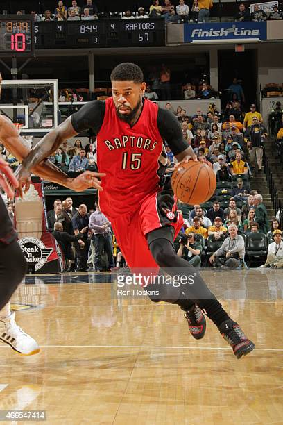 Amir Johnson of the Toronto Raptors drives to the basket against the Indiana Pacers during the game on March 16 2015 at Bankers Life Fieldhouse in...