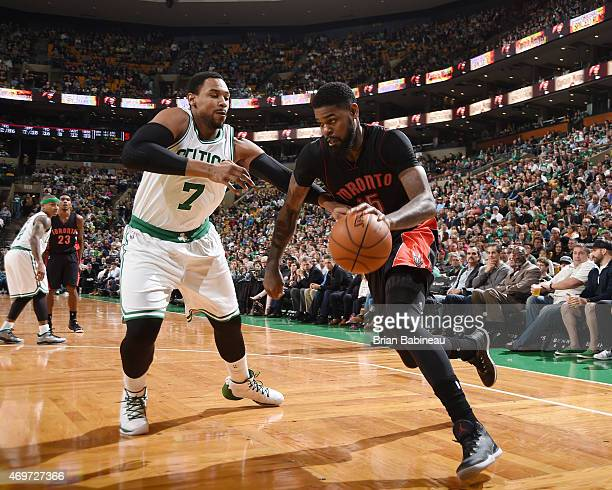 Amir Johnson of the Toronto Raptors drives to the basket against the Boston Celtics during the game on April 14 2015 at the TD Garden in Boston...
